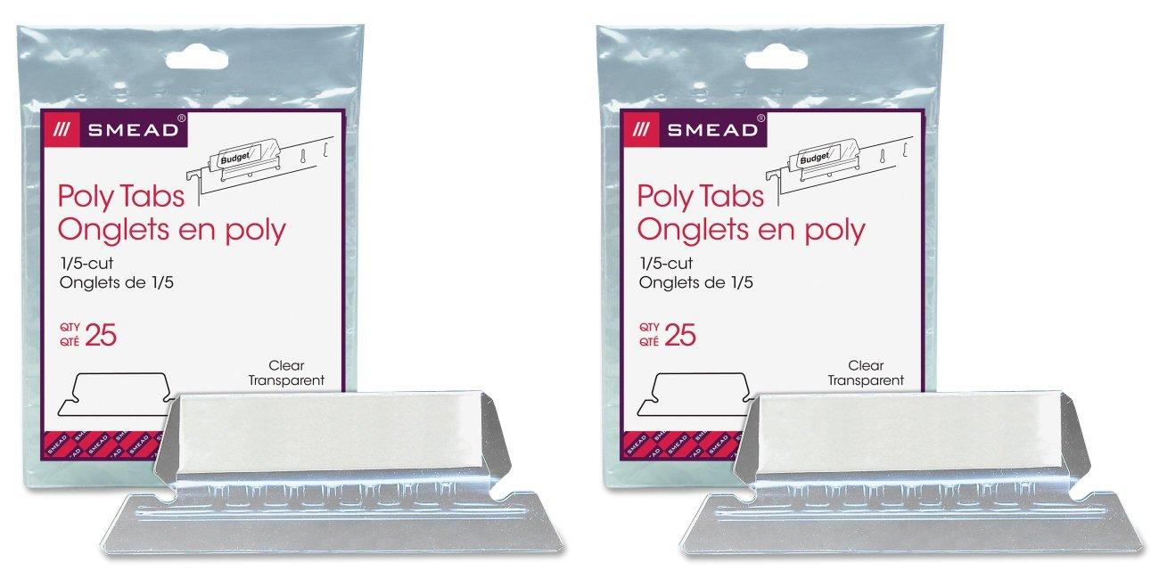Smead Poly Tab 1/5 Cut Tab, Clear, 25 Per Pack (64600), 2 Packs