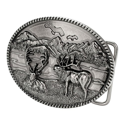 Buckle Rage Men's Mountain Elk Hunting Wilderness Oval Belt Buckle Silver