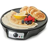 Global Gourmet Pancake Maker & French Crêpe Machine | Non-Stick 12 Inch Electric Pan | Portable Cooking Machine | Batter Spreader & Spatula | 5 Settings | Adjustable Temperature Control