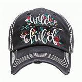 Wild Child Black Washed Vintage Baseball Adjustable Cap.