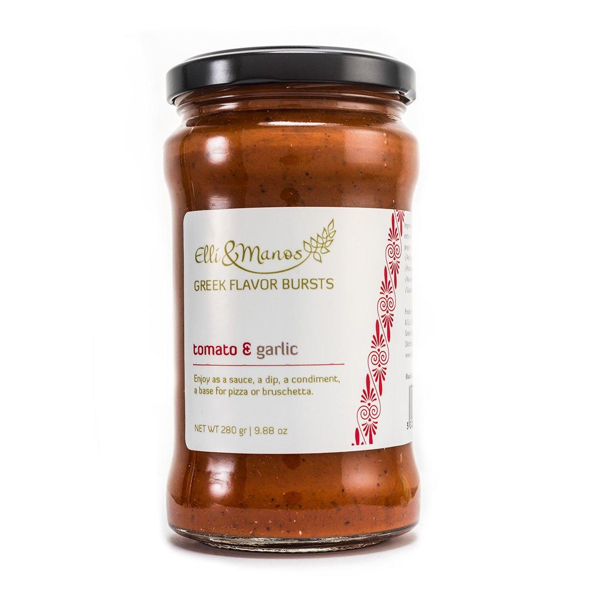 Elli & Manos Greek Flavor Bursts - Tomato & Garlic - 280gr/9.88oz - highly concentrated spread/veggie dip by Elli & Manos
