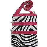 Zebra Print Crossbody Purse w/ Hot Pink Trim