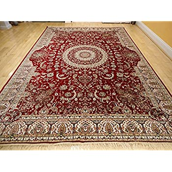 Amazoncom Luxury Red Silk Area Rugs for Living Room Traditional