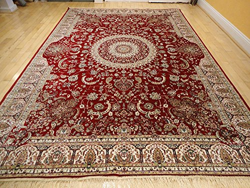 Stunning Silk Persian Area Rugs Traditional 7x10 Red Rugs Dining Room Area Rug 6x9 Red Traditional Living Room Rugs (Large 7'x10')