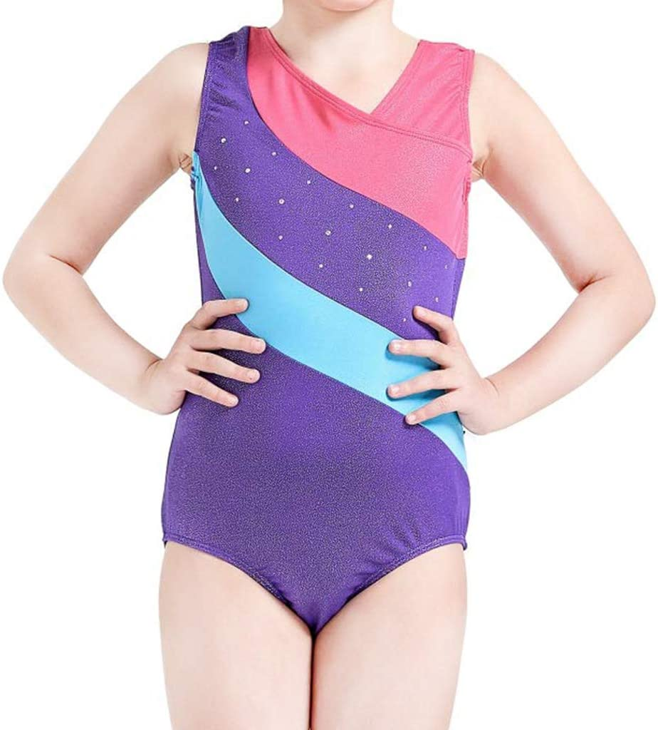 DoGeek Gymnastics Leotard Colorful Stripes Ballet Dance clothes Girls Athletic Leotard for Child
