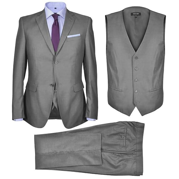 vidaXL Traje de Chaqueta de Vestir Hombre de Negocios de 3 Piezas Talla 52 Gris: Amazon.es: Ropa y accesorios