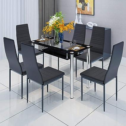 Boju Set Di Sedie Per Sala Da Pranzo Cucina Tavolo E Sedie In Similpelle Con Schienale Alto E Gambe Cromate 1 Table 6 Chairs Amazon It Casa E Cucina