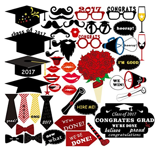 Fantastic Deal! PBPBOX Graduation Photo Booth Props 2017 Graduation Party Decorations 46PCS