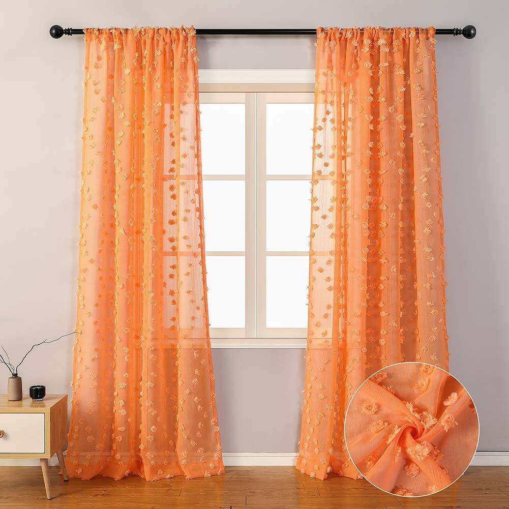 """MYSKY HOME Orange Sheer Curtains 84 Inches Long Rod Pocket Voile Sheer Curtains with Pom Pom for Bedroom Living Room (2 Panels, 54"""" x 84"""", Orange)"""