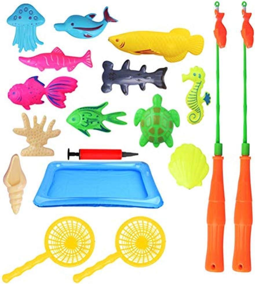 Juguetes De Baño, Juego De Juguetes De Pesca Magnética Para Niños Para La Hora Del Baño Fiesta En La Piscina Con Red De Caña De Pescar, Peces Flotantes De Plástico - Educación Para Niños (B)