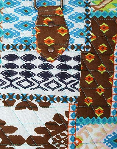 Ultima macchina trapuntato Cotone Patch borsa in stoffa blu per le ragazze di Rajrang