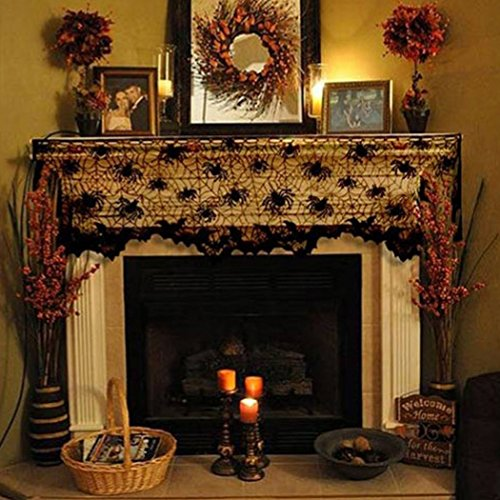 Asunflower Halloween Decoration Lace Spider Bat Fireplace Mantle Scarf Creepy Halloween Table Runner Lampshade Cover ()
