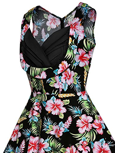 Neck Cut Dress Printed Out Party Swing Dress Prom Women's Sleeveles Elegant Green V Deodar Floral zIZ0Zq