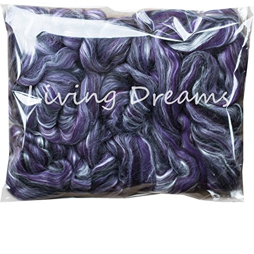 SILK MERINO Fiber for Spinning. Super Soft Combed Top Wool Roving for Hand Spinning, Wet Felting, Nuno Felting, Needle Felting, Soap Making, Paper Making and Embellishments. Night Out (Top Combed Wool)