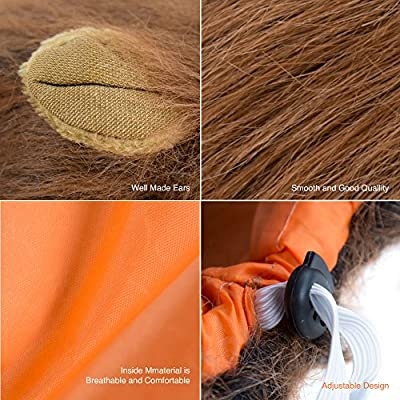 Furryfido Lion Mane -Lion Wig for Medium to Large Sized Dogs with Ears plus Gift [Lion Tail] Lion Wig for Dog— Halloween party fancy costume - Complementary Lion Mane for Dog Costumes (light Brown)