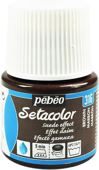 PEBEO Setacolor - Pintura para Tela (Efecto Gamuza, 45 ml), Color marrón
