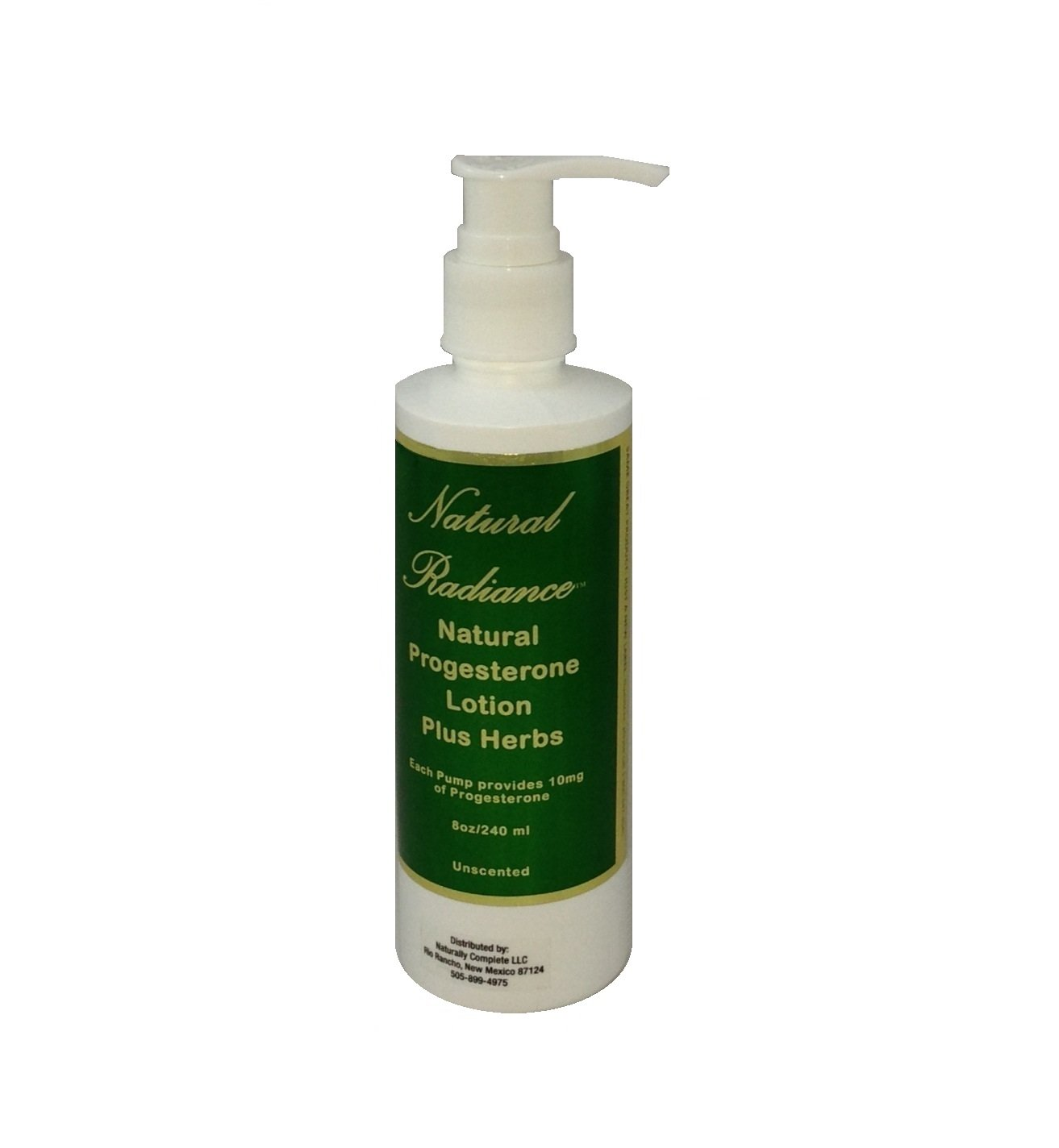 Natural Radiance Progesterone Plus Herbs - Soy-Free & Paraben-Free Lotion - Fragrance Free/Unscented 8 oz. Pump Bottle