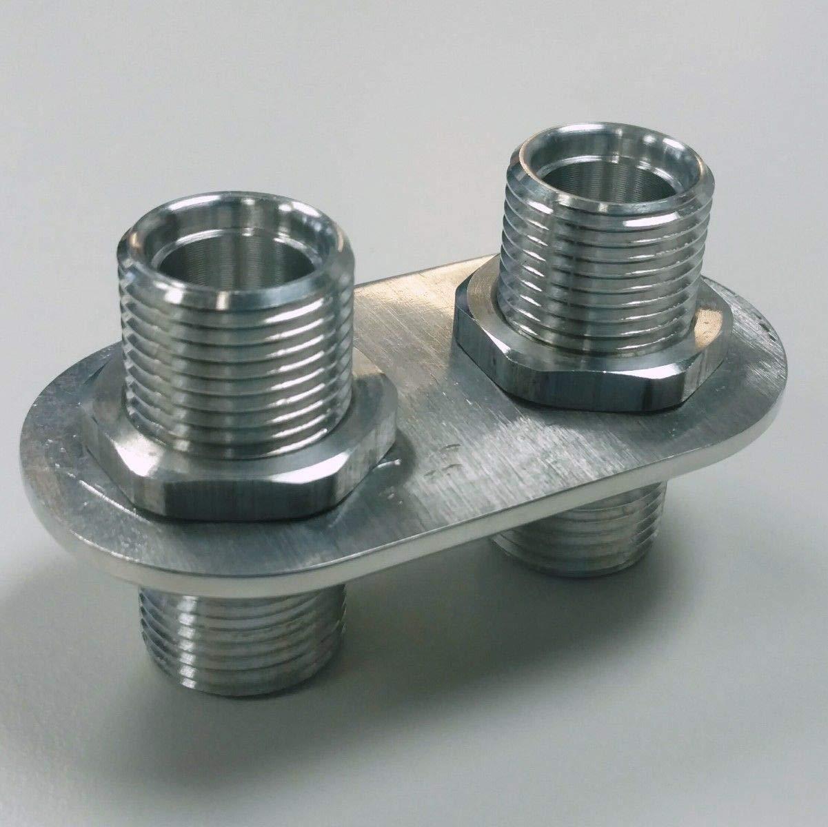 Anodized Aluminum 2 Port Ac Air Conditioning Heater Hose Firewall Bulkhead 1-L 1-L