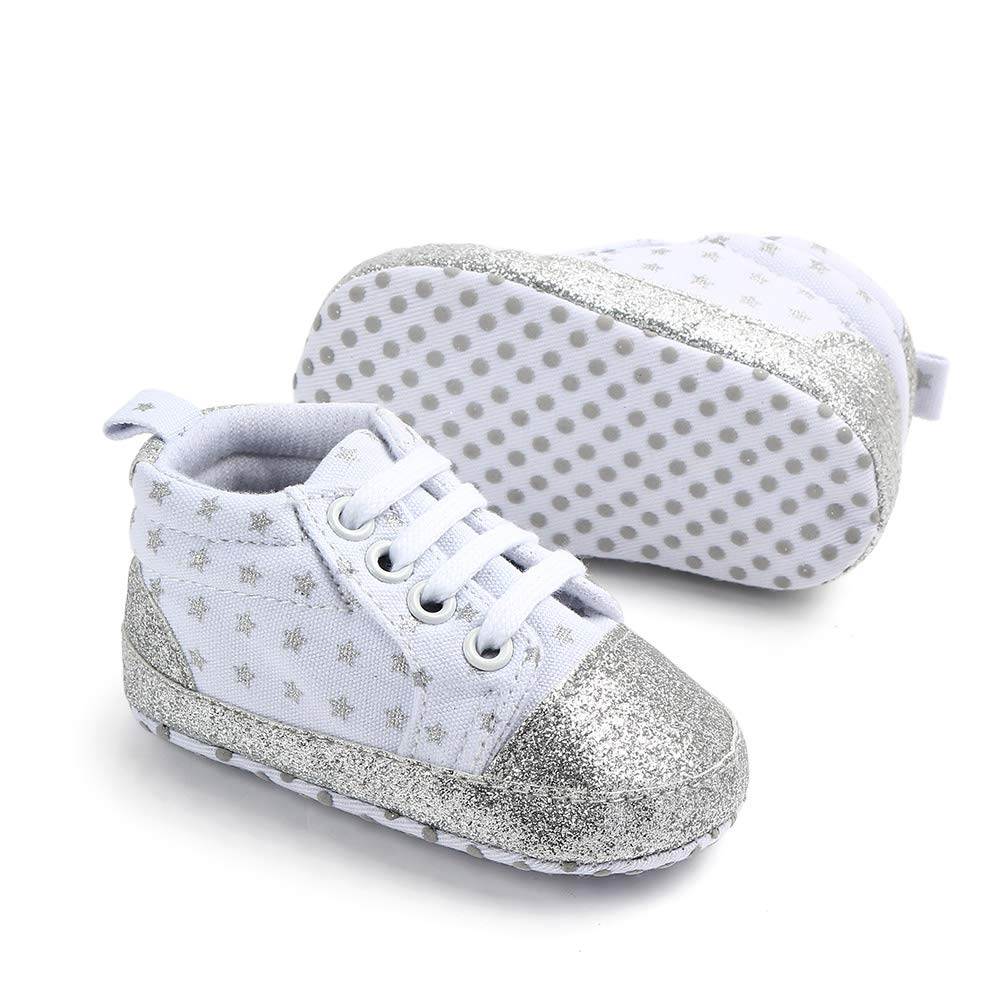 Togudot Infant Cotton Soft Sole Anti-Slip Prewalker Toddler Crib Shoes Star Print Sneaker 0-18 Months