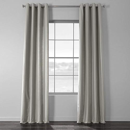HPD Half Price Drapes CCLK-1805A-120-GR Cotton Textural LinenWeave Grommet Curtain 1 Panel