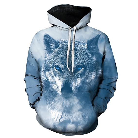 3ca96bf54071 Hannea Hooded 3D Wolf Print Pullover Hoodie  Amazon.in  Clothing    Accessories