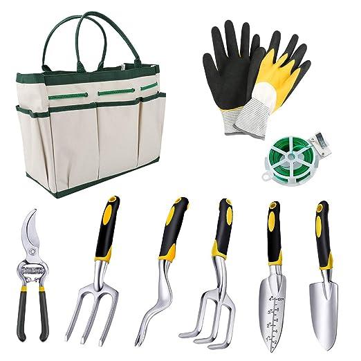 Powcan Garden Tools Juego de Herramientas de jardinería de 9 ...