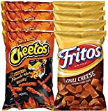 Cheetos Crunchy Xxtra Flamin' Hot & Fritos Chili Cheese Corn Chips Snack Care Package for College, Military, Sports Approxiamtely 8.0 Oz (8)
