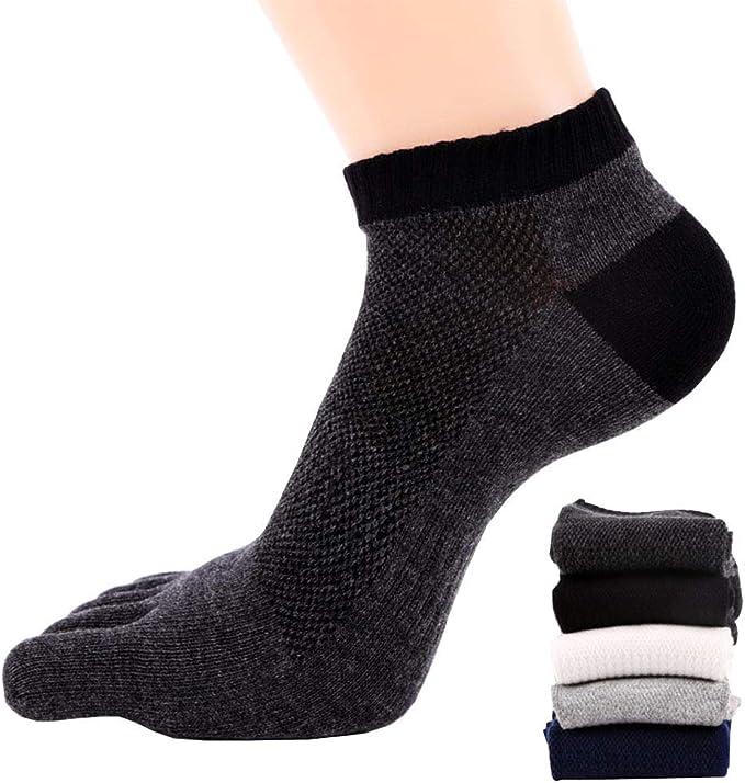 FULLANT 5 pares de calcetines de algodón para correr con cinco dedos para hombre: Amazon.es: Ropa y accesorios