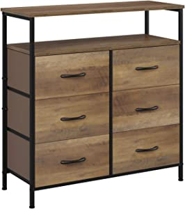 HOMECHO Fabric Dresser Chest with 6 Drawers, Wide Chest of Drawers with 2 Tier Wood Shelves, Sturdy Metal Frame, Tall Nightstand Functional Organizer Unit for Closets, Bedroom, Hallway, Rustic Brown
