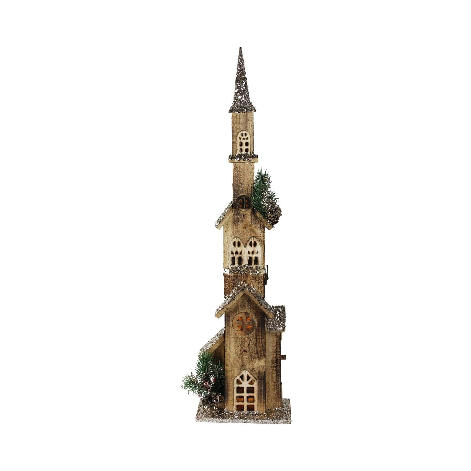 Northlight 27.5'' LED Lighted Multi Level Brown Wooden Church Christmas Decoration