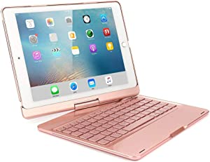 TechCode 9.7 inch iPad Pro Keyboard Case, 360 Rotate - Slim Fit - Wireless Bluetooth - 7 Color Backlit - Auto Wake/Sleep Flip Case w/Smart Keyboard Cover for iPad Pro 9.7 inch 2016 Release, Rose Gold