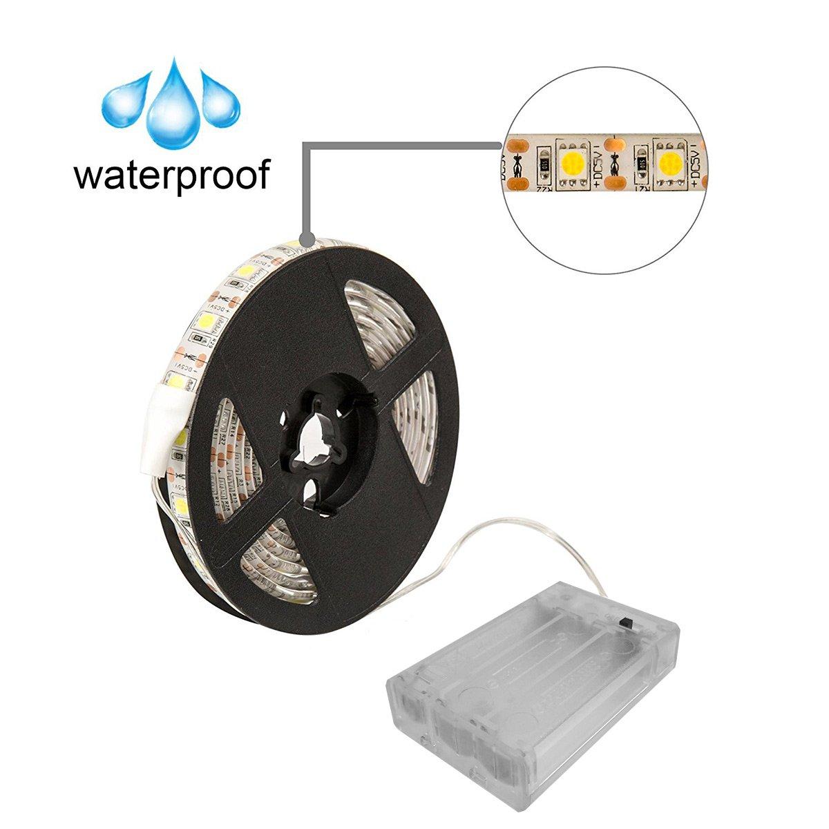 2M//6.56ft, Cool White Battery Powered Led Strip Lights,Geekeep Waterproof Flexible LED Light Strips SMD 5050 LED Ribbon Light Mood Light
