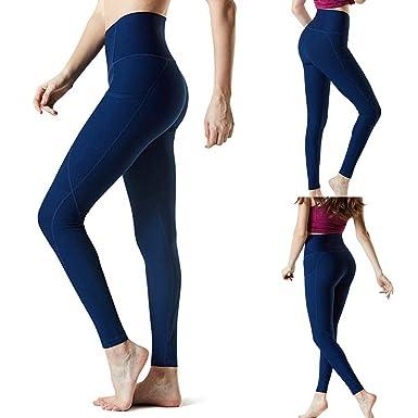 ZHMEI Pantalones de Yoga para Mujeres con Bolsillo, Cintura ...