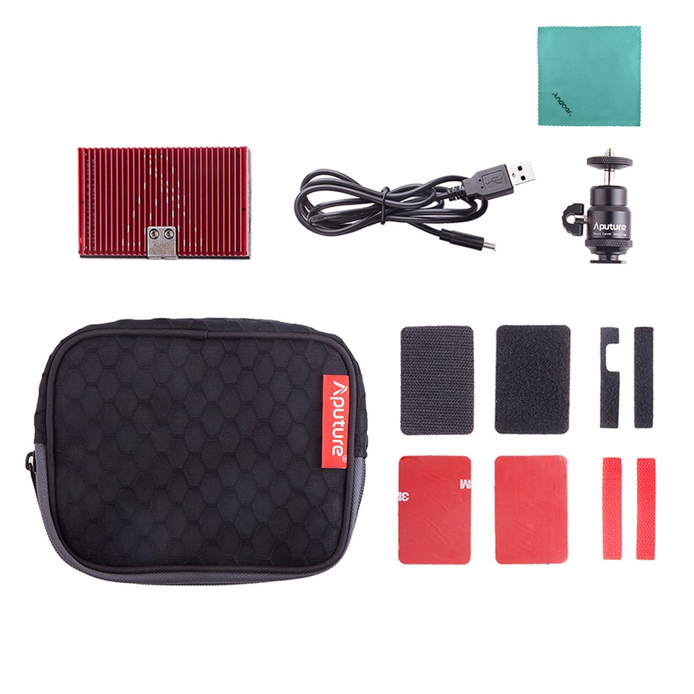 Aputure AL-MX Mini LED Video Light 2800K-6500K Color Temperature CRI95+ 128pcs LED Beads Adjustable Brightness Built-in Lithium Battery with Cold Shoe Mount Carry Bag with Andoer Cleaning Cloth by Aputure (Image #8)