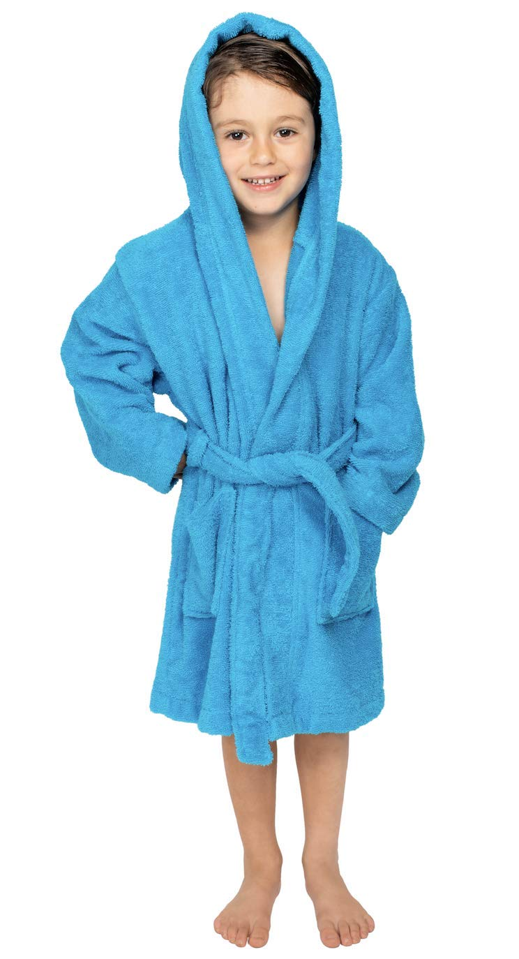 Bagno Milano Kids - Unisex Hooded Bathrobe - 100% Organic Turkish Cotton - Boys - Girls Robe, Made in Turkey (Medium/Age 6-8, Blue)