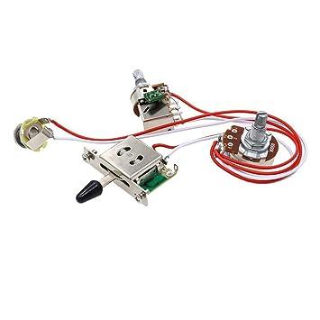 SODIAL Interruptor de 3 palancas 1 tono 1 volumen kit de cableado para guitarra electrica 500K