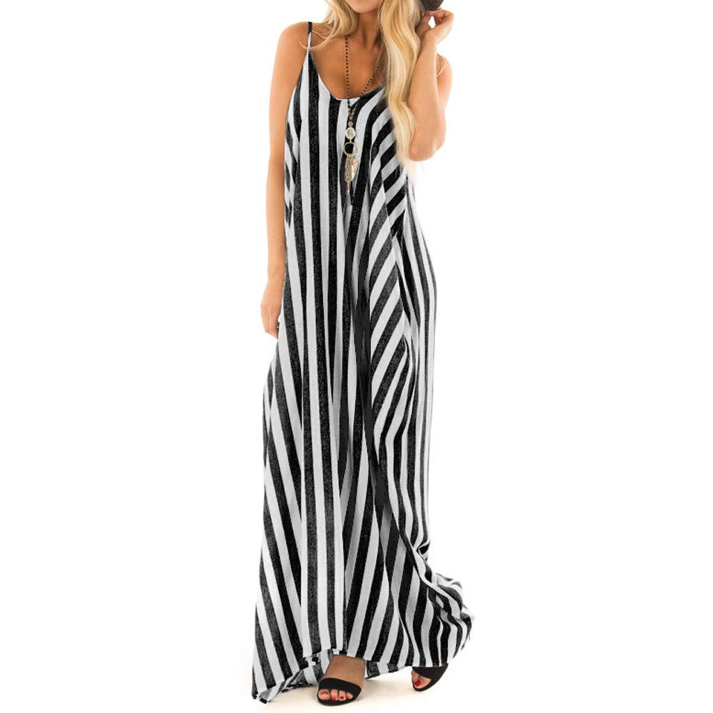Twinsmall Maxi Dress, Women Casual Long Plain Dress Boho V Neck Sleeveless Flowy Pleated Loose Long Beach Party Dress (M, Black 1)
