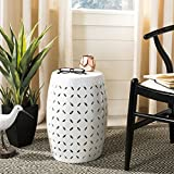 Safavieh Castle Gardens Collection Lattice Petal White Ceramic Garden Stool
