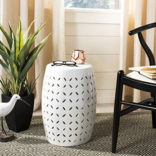 Safavieh Castle Gardens Collection Lattice Petal White Ceramic Garden Stool - White Stool Garden