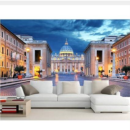 Carta Da Parati 3d Roma.Meaosy Grandi Murales 3d Roma Italia Templi Case Notte Lampioni