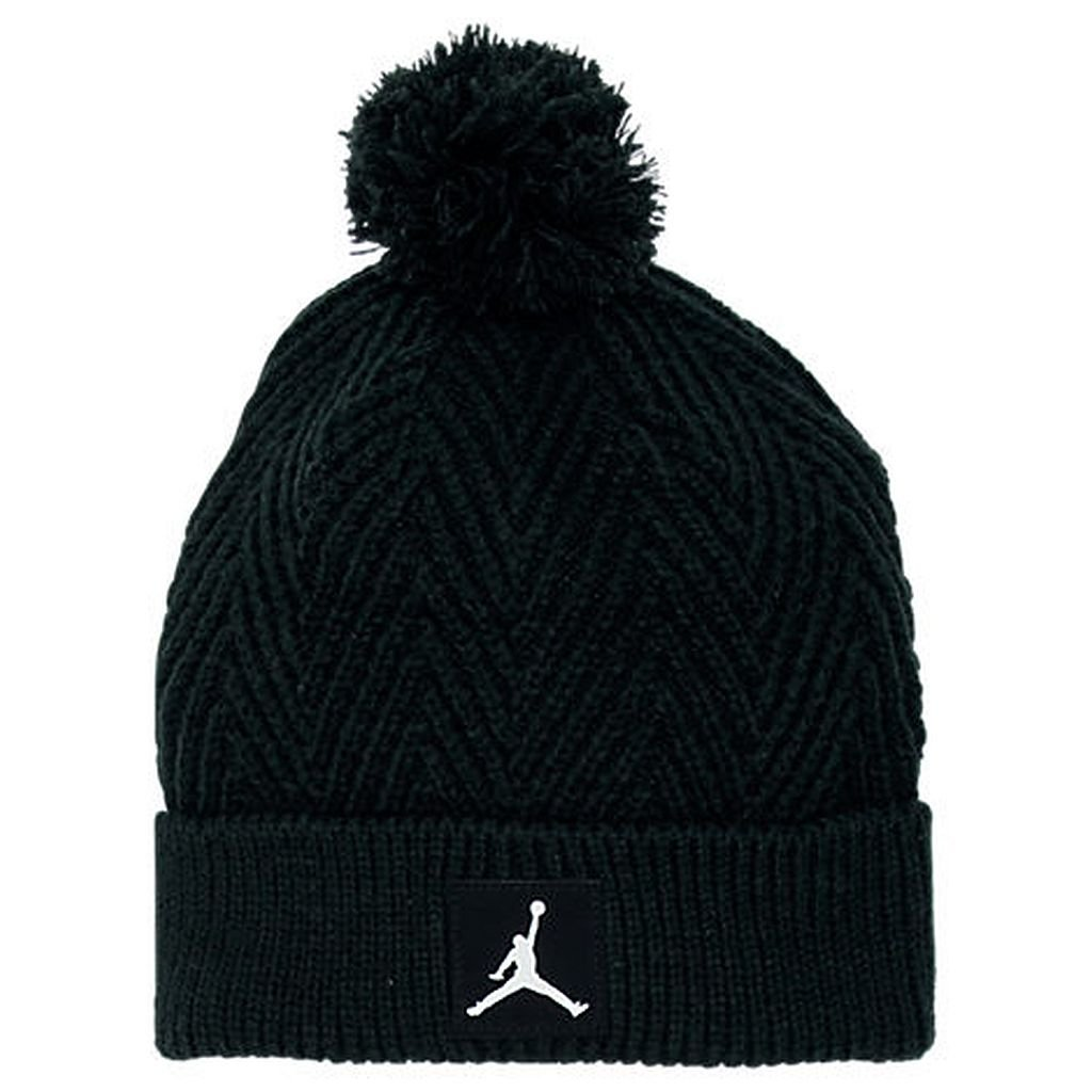 NIKE Jordan Kids Boys Pom Herringbone Knit Beanie Hat