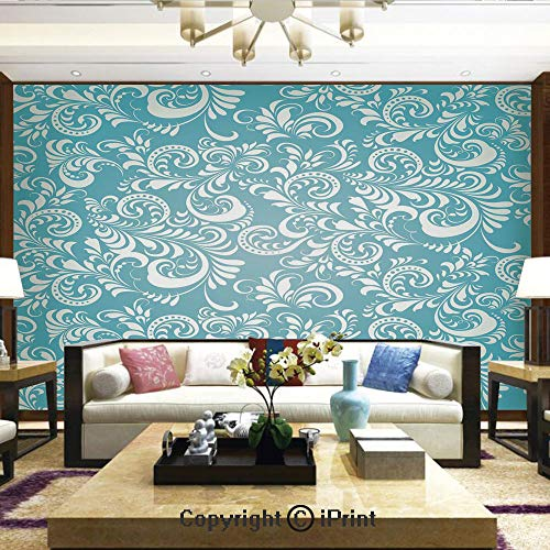 Lionpapa_mural Removable Wall Mural Ideal to Decorate Your Dining Room,Stylized Floral Frosty Pattern Artistic Display Winter Snow Ice Hoar Theme Decorative,Home Decor - 100x144 inches ()
