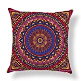 Cotton Linen Home Throw Pillow Case U-LOVE European Colorful Retro Floral,Moroccan Style fashion Square Cushion Cover for 18 X 18 Inch Pillow Inserts