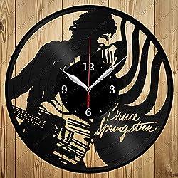 Vinyl Record Clock Bruce Springsteen Vinyl Clock Handmade Exclusive Clock Art Decor Home Wall Clock Black Original Gift Unique Design