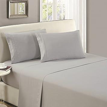 (Full   1 Flat Sheet, Light Gray)   Mellanni Flat Sheet Full Light