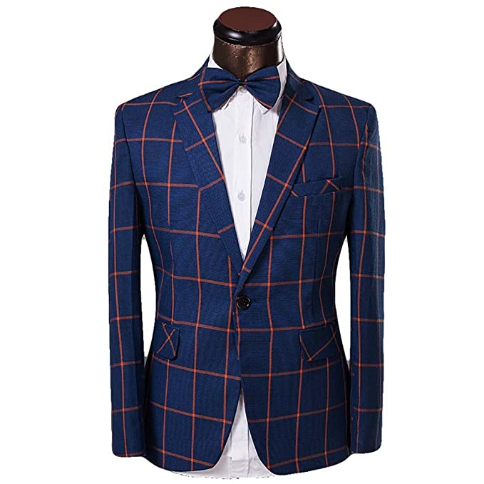 Men's Vintage Style Suits, Classic Suits Mens Plaid Tuxedo Casual Dress Suit Slim Fit Jacket & Trouser $69.99 AT vintagedancer.com