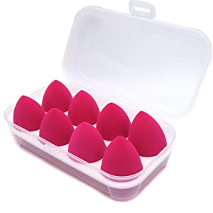 LOVCHU 8 PCS Latex-free Professional Makeup Sponge Set Blender Beauty Foundation Blending Sponge with Transparent Receiving Box - Perfect for Liquid, Cream, Concealer and Powder (Rose Colour)