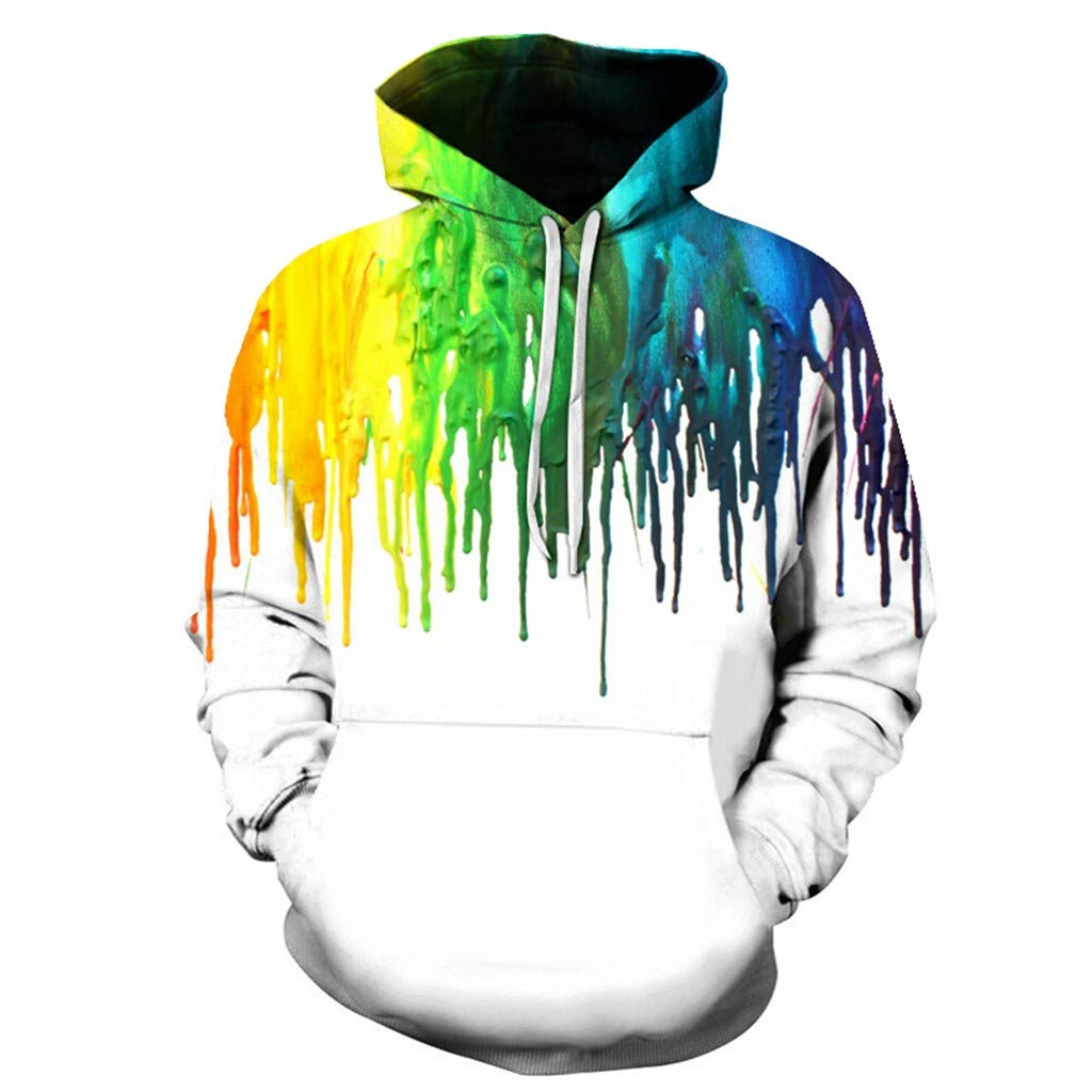 Men Hooded Sweatshirt Long Sleeve Tie Dye 3D Printed Casual Hip Hop Splice Pullover Sports Shirts (XXL, White)