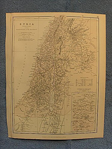 """Syria, south division, from Beyrout, southwards, including Palestine, and the Hauran, with a map of the Environs of Jerusalem - single original antique chromolithographed map from """"The Comprehensive Atlas and Geography of the World"""
