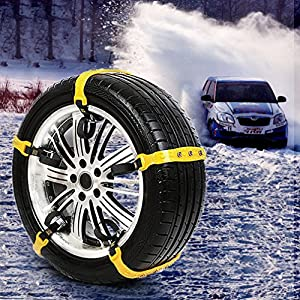 "[PATENTED CHAINS ] Snow Chains Anti-Skid Car Safety Chains, Emergency Traction Adjustable Chains Universal Anti Slip TIRE SNOW MUD Chains10pcs Car,SUV, Truck Width 7.3""-12""(185mm-295mm)"